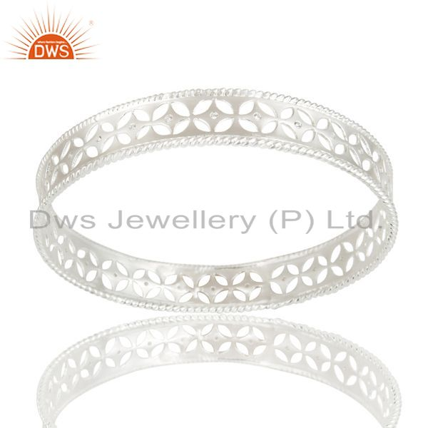 Wholesalers of Xmas gifts solid 925 silver crafted wide bangle cubic zirconia