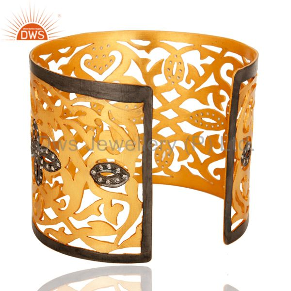 Suppliers Handmade Sterling Silver With Gold Plated Filigree Design Cuff Bracelet With CZ