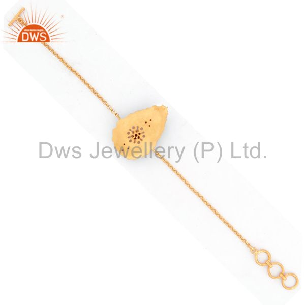 Suppliers Estate Heavy 18K Gold Plated Over Sterling Silver Ruby Gemstone chain charm Brac