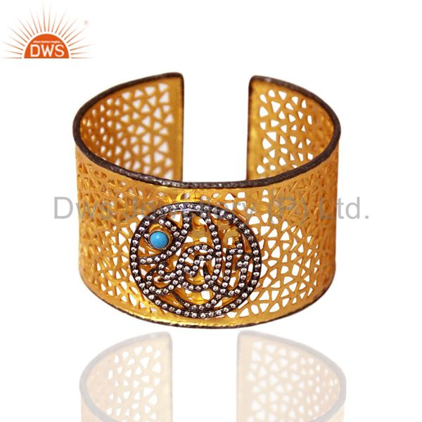 Suppliers 18K Gold Plated Sterling Silver Turquoise And CZ Filigree Designer Cuff Bracelet