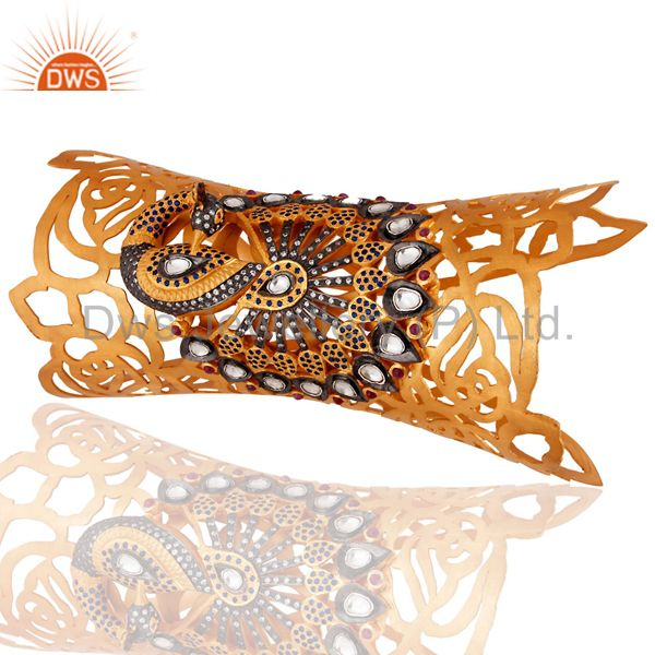Suppliers Handcrafted Sterling Silver Ruby Peacock Designer Cuff Bracelets - Gold Plated