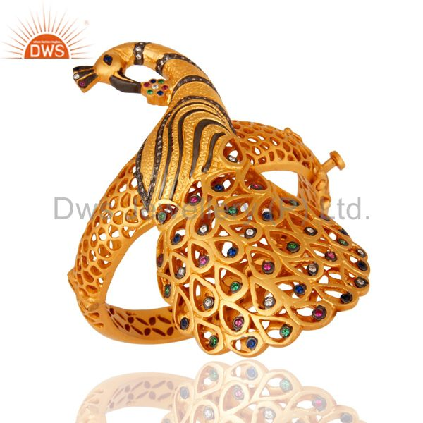 Wholesalers of Stunning 18k gold silver mix color cubic zirconia designer bangle