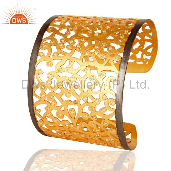 Indian Handmade Designer 925 Silver With Gold Plated American Diamond Wide Bangle Cuff Bracelet
