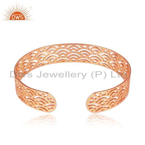 Suppliers Marvelous Filigree Design Rose Gold Plated Silver Cuff Bangle