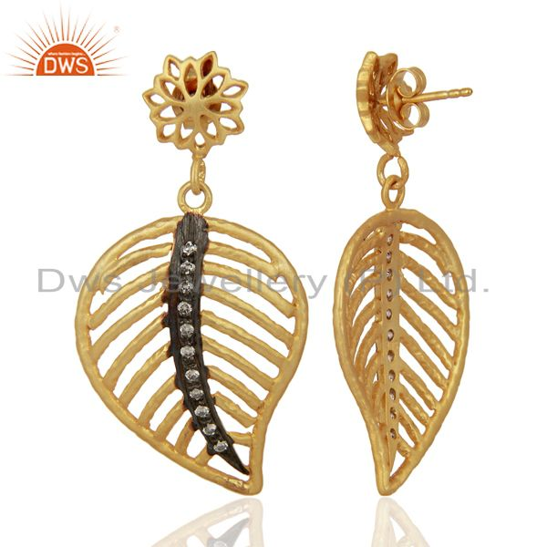 Suppliers 22K Gold Plated Sterling Silver Cubic Zirconia Leaf Designer Dangle Earrings