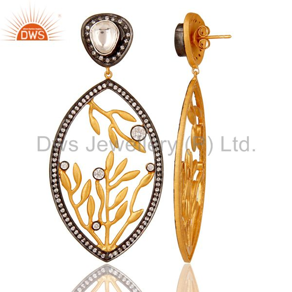 Suppliers 22K Gold Plated Sterling Silver Crystal Quartz And CZ Floral Dangle Earrings