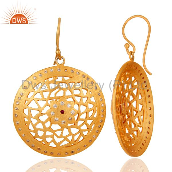 Suppliers 24K Gold Plated 925 Sterling Silver White Cubic Zirconia Filigree Design Earring