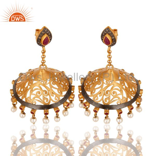 Suppliers 18K Gold Plated Sterling Silver Diamond, Pearl and Ruby Ethnic Jhumka Earrings