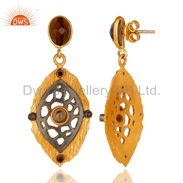 Suppliers Vintage 18k Gold Smoky Quartz Earring Textured Finish Solid 925 Silver Estate Je