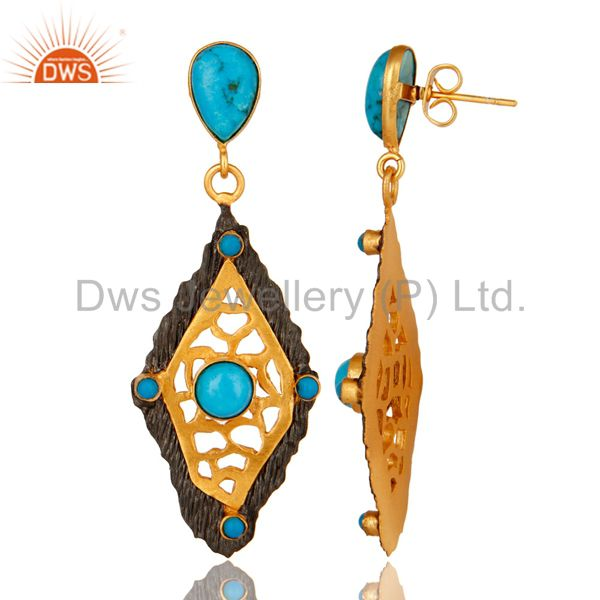 Suppliers 18K Yellow Gold Plated Turquoise Gemstone Designer Fashion Earrings
