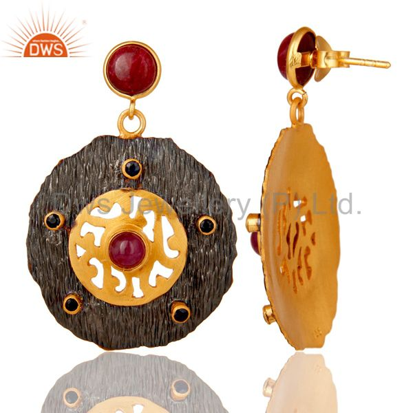 Suppliers Oxidized And 22K Matte Gold Plated Silver Ruby And Blue Sapphire Disc Earrings