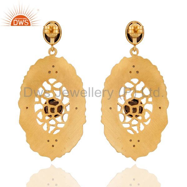 Suppliers 925 Sterling Silver 24K Yellow Gold Plated Natural Smoky Quartz Dangle Earrings