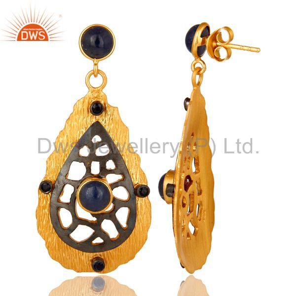 Suppliers Oxidized And 22K Yellow Gold Plated Sterling Silver Blue Sapphire Dangle Earring