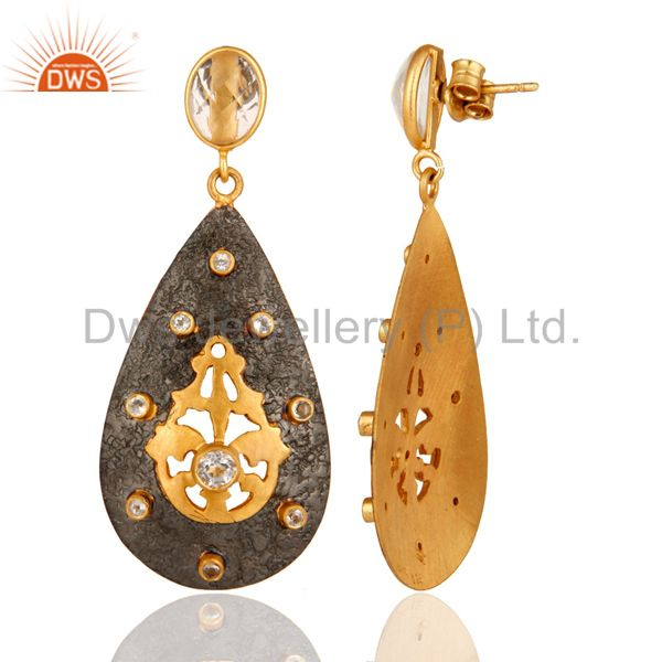 Suppliers Gold Plated 925 Sterling Silver Designer Earrings With Crystal Quartz & CZ