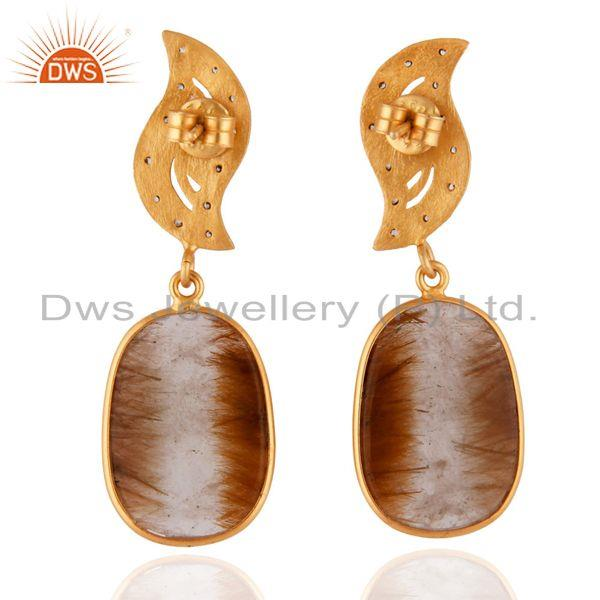 Suppliers 18k Gold Plated 925 Sterling Silver White Zircon & Rutile Quartz Dangle Earrings