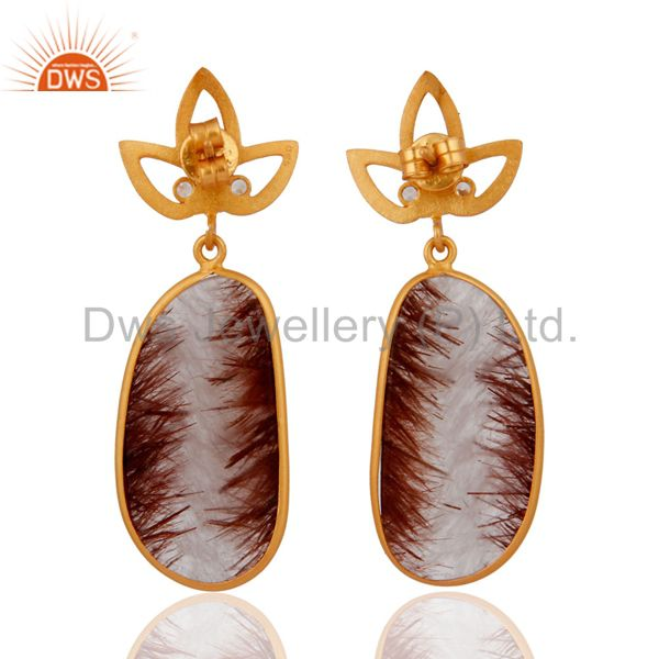 Suppliers 14k Yellow Gold On Sterling Silver Golden Rutilated Quartz Drop Dangle Earrings