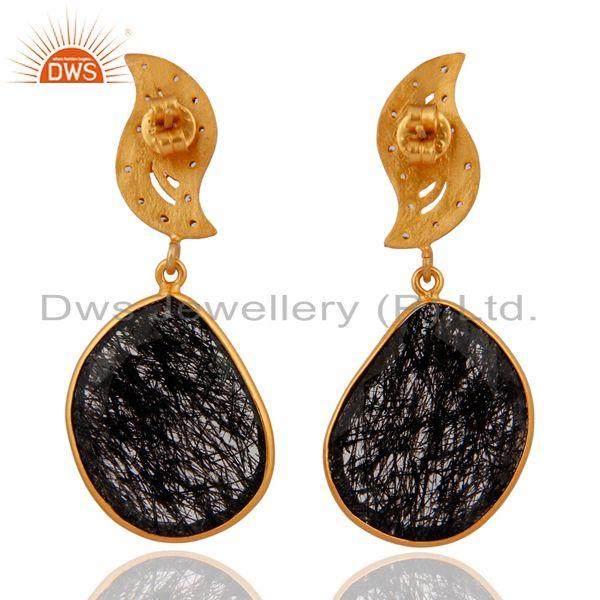 Suppliers Black Rutilated Quartz Gemstone 18k Gold Over Sterling Silver CZ Dangle Earrings