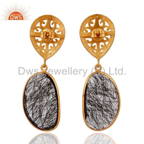 Suppliers Designer 925 Sterling Silver Tourmalinated Quartz Earrings With 24k Gold Plated