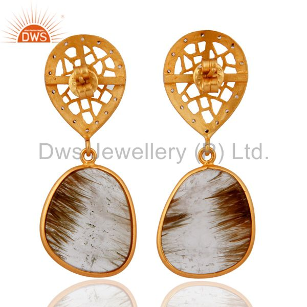 Suppliers Unique Designer Sterling Silver Sliced Cut Rutilated Quartz Gemstone Earrings