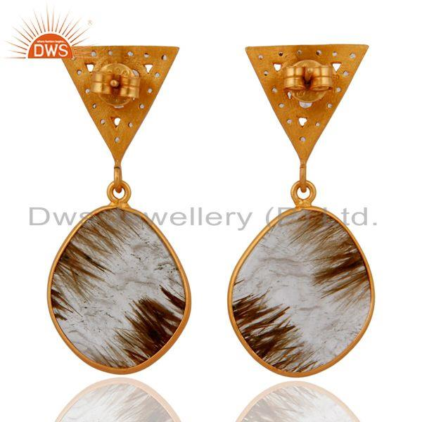 Suppliers 18k Gold Plated Sterling Silver Natural Rutilated Quartz Slice Dangle Earrings