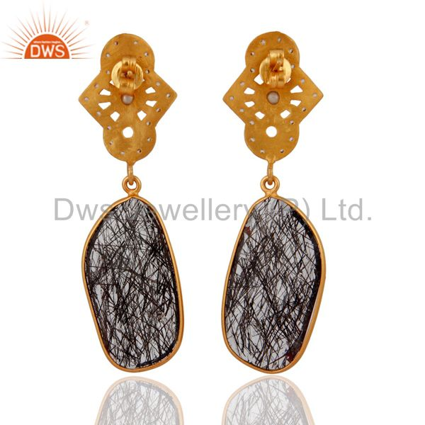 Suppliers 925 Sterling Silver Silver Natural Tourmalated Quartz Earrings With Gold Plated