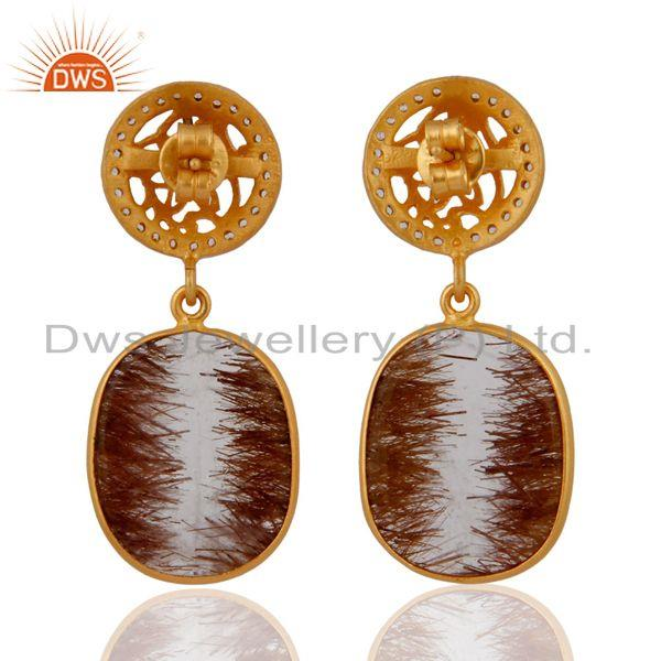 Suppliers High Quality Natural Gemstones Rutile Quartz Earrings In 24k Gold on 925 Silver