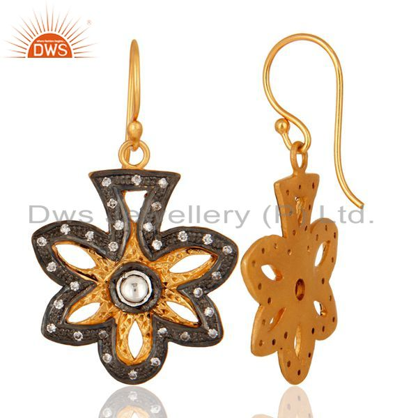 Suppliers Yellow Gold Plated Sterling Silver CZ Accent Flower Dangle Earrings