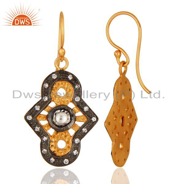 Suppliers Designer Sterling Silver With Yellow Gold Plated Cubic Zirconia Earrings