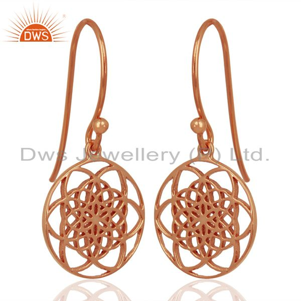 Suppliers Flower of life Filigree 92.5 Sterling Silver Rose Gold Plated Dangle Earrings