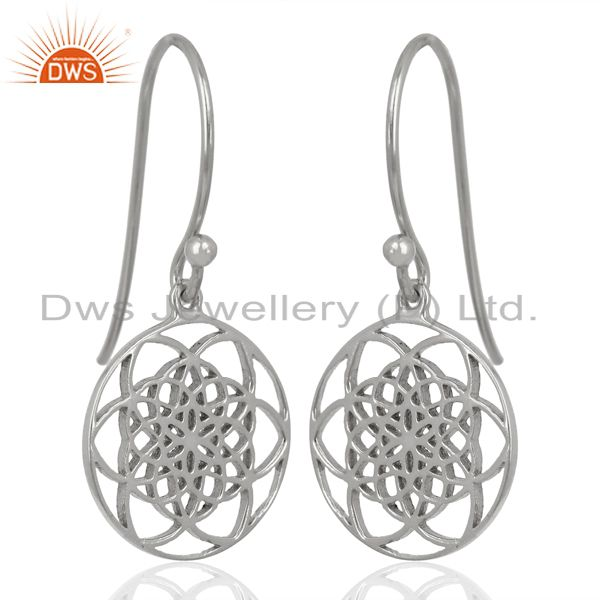 Suppliers Flower of life Style 92.5 Sterling Silver White Rhodium Plated Dangle Earrings
