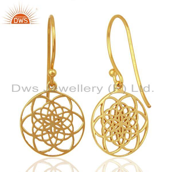 Suppliers Flower of life Style 92.5 Sterling Silver 18K Gold Plated Dangle Earrings