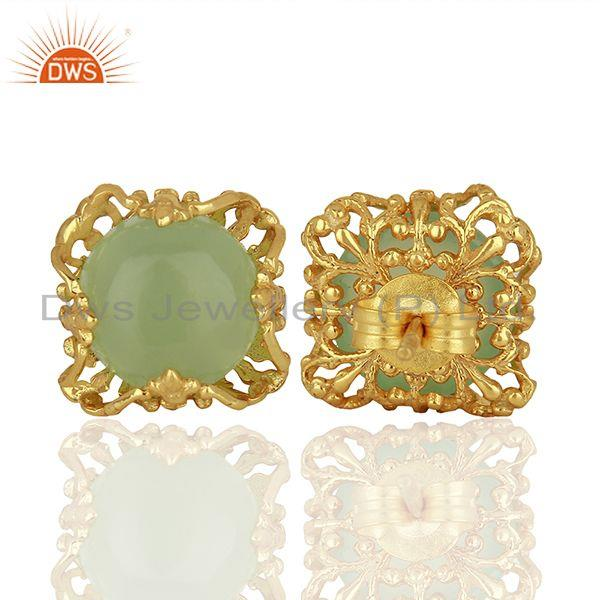 Suppliers Best Selling Gold Plated 925 Silver Chalcedony Gemtone Stud Earrings