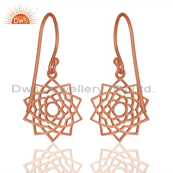 Suppliers Rose Gold Plated 92.5 Sterling Silver Chakra Design Earrings Wholesale