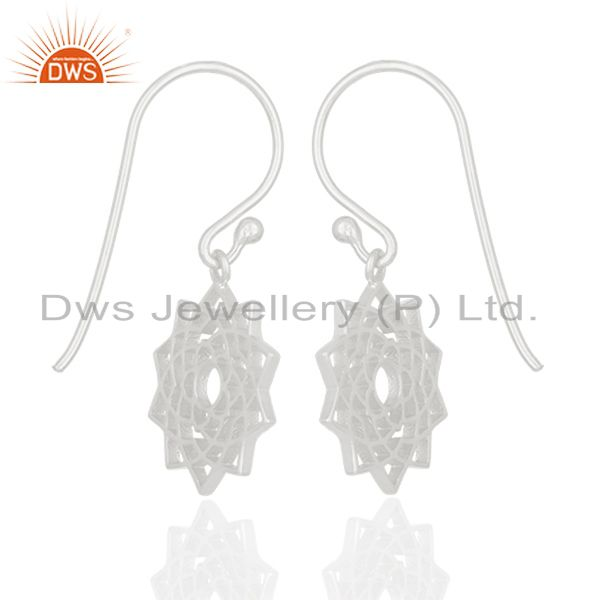 Suppliers White Rhodium Plated Sterling Silver Chakra Design Drop Earring