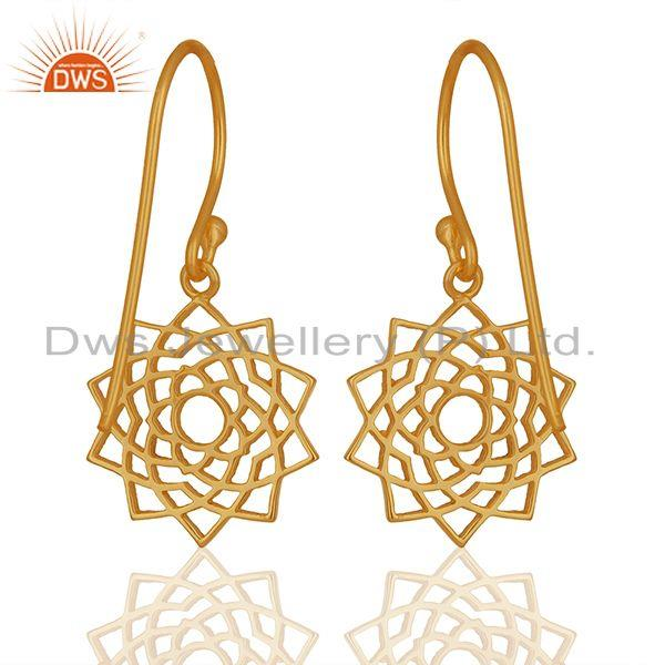 Suppliers Chakra Design 925 Silver Gold Plated Indian Earrings Manufacturers