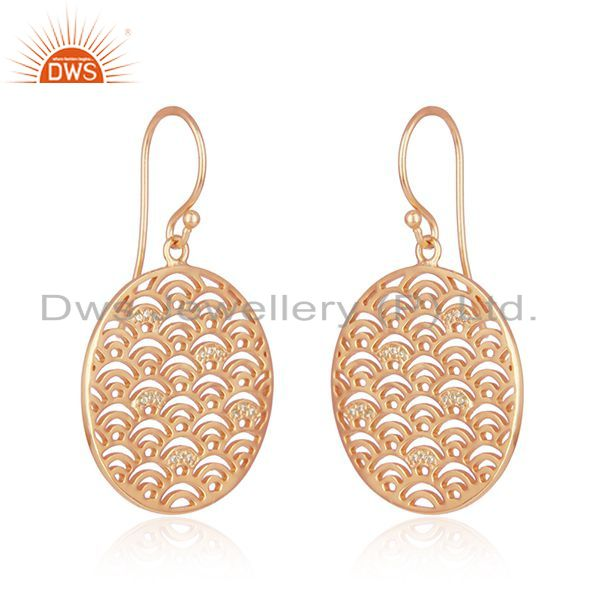 Suppliers Rose Gold Plated Sterling Plain 925 Silver Designer Earrings Supplier