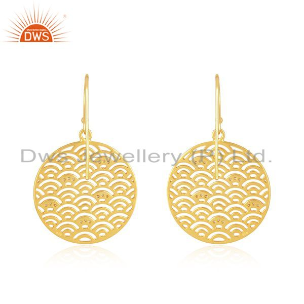 Suppliers Yellow Gold Plated Sterling Plain 925 Silver Designer Girls Earrings