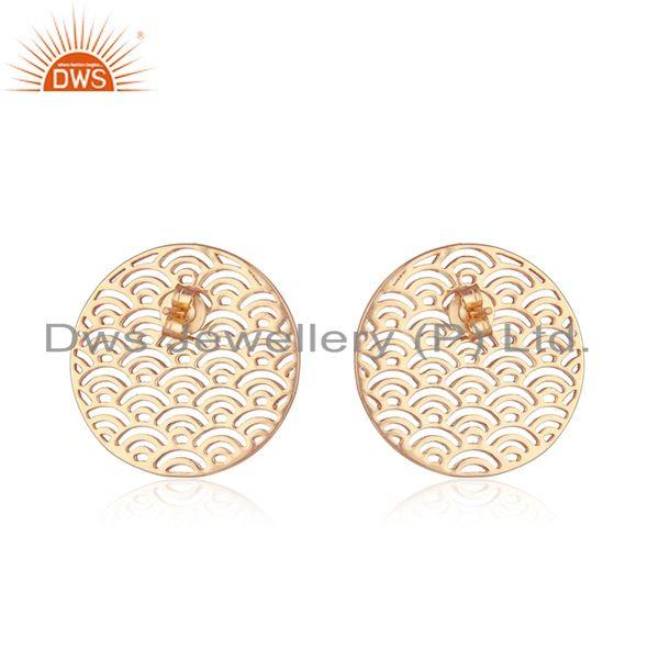 Suppliers Rose Gold Plated Plain Sterling Silver Filigree Stud Earrings Supplier