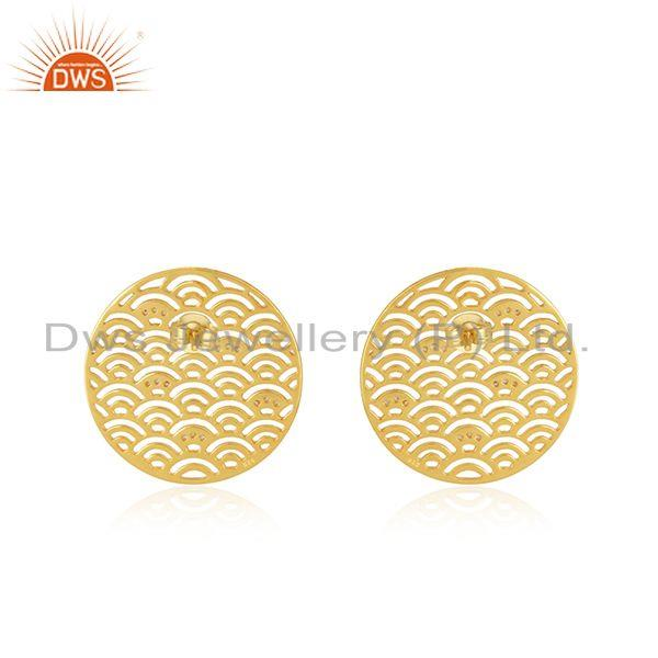 Suppliers New Arrival Gold Plated Plain Sterling Silver Stud Earrings Wholesale