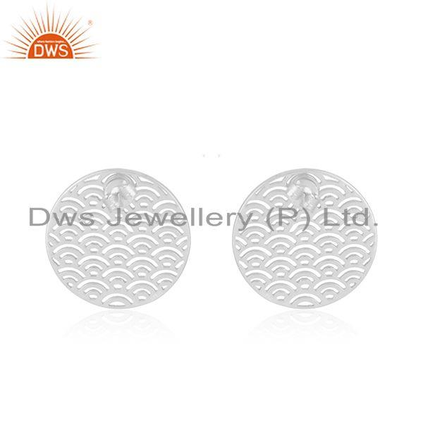 Suppliers White Rhodium Plated Sterling Silver Unique Girls Stud Earring Jewelry