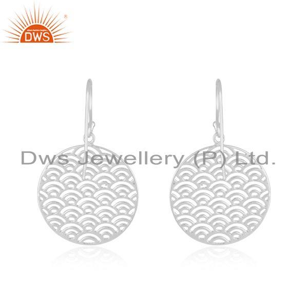Suppliers White Rhodium Plated Sterling Silver Filigree Design Earrings Supplier