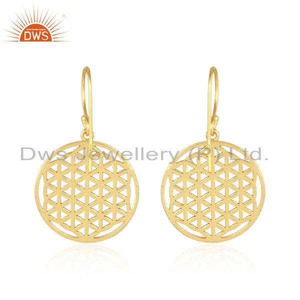 Suppliers Yellow Gold Plated New Filigree Design Round Silver Earrings