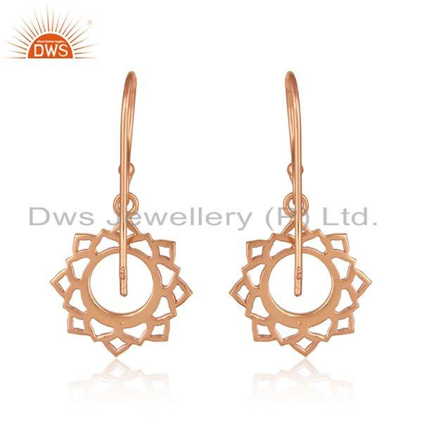 Suppliers Rose Gold Plated Vishuddha Chakra Design Womens Silver Earrings
