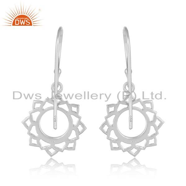 Suppliers White Rhodium Plated Indian Vishuddha Chakra 925 Silver Earrings