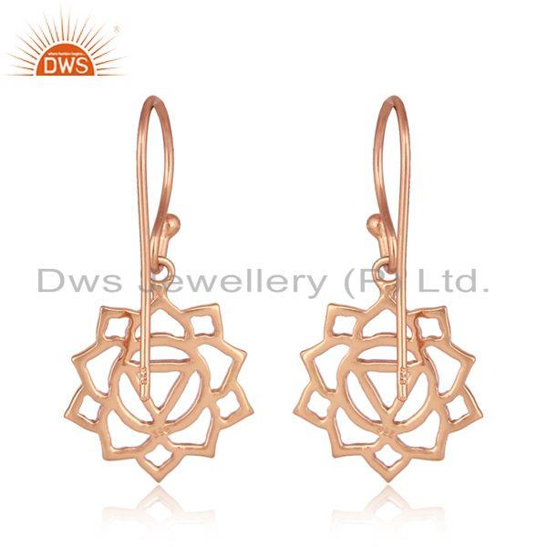 Suppliers Manipura Chakra Design Rose Gold Plated Silver Womens Earrings