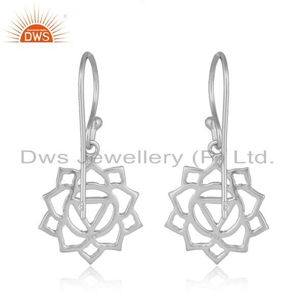 Suppliers White Rhodium Plated Plain Silver Manipura Chakra Earring Jewelry