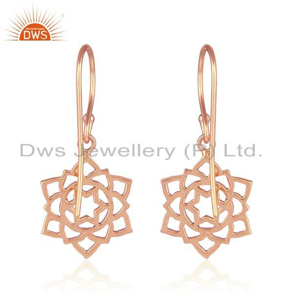 Suppliers Rose Gold Plated 925 Plain Silver Anahata Chakra Design Earrings