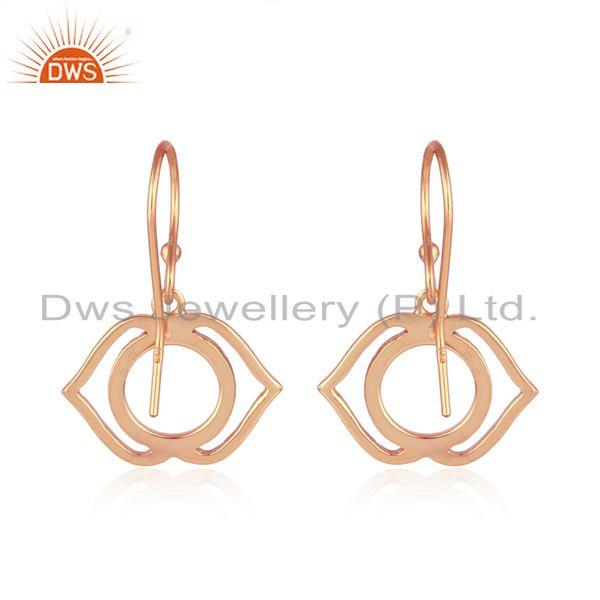 Suppliers Rose Gold Plated Ajna Chakra Designer Womens Plain Silver Earring