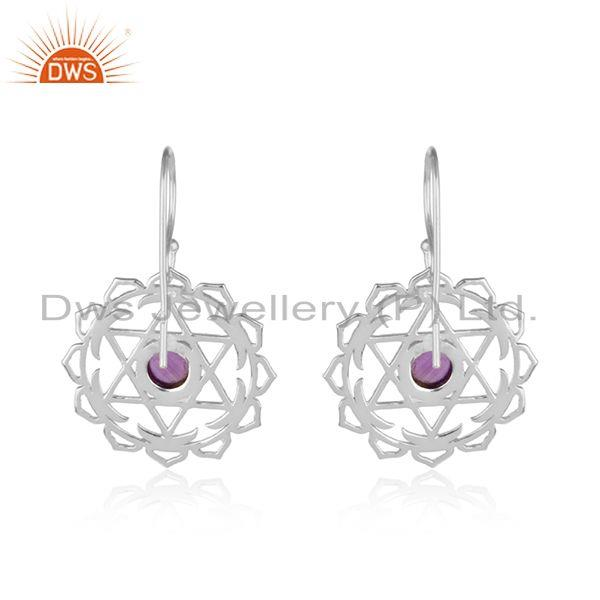 Designer of Handmade 925 sterling silver chakra design amethyst earrings