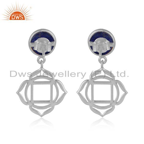 Designer of Holy root chakra earring in solid silver 925 with natural lapis